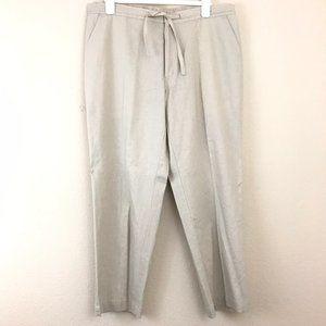 Havanera Men Linen Pant XL Beige Elastic Waist Zip